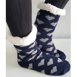 Fluffy Slipper Socks (Navy)
