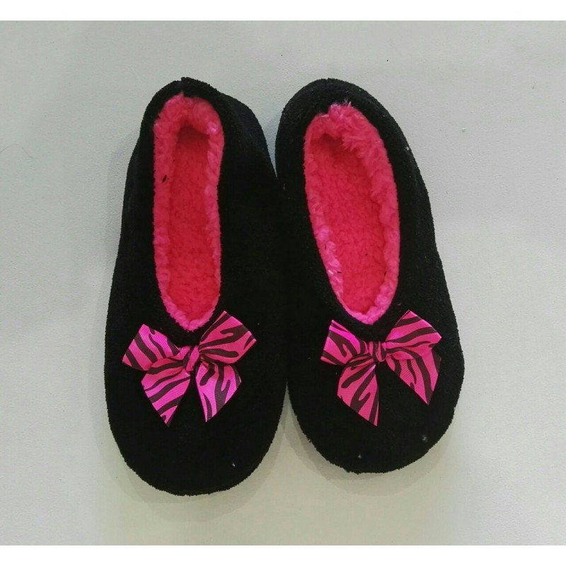 Cozy Soft Slippers - Black with Pink