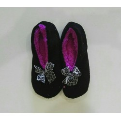 Cozy Soft Slippers - Black with Purple