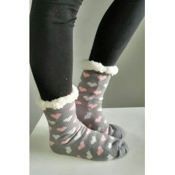 Fluffy Slipper Socks - Hearts (Grey)