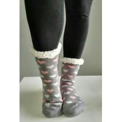Fluffy Slipper Socks - Hearts (Grey)