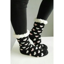 Fluffy Slipper Socks - Hearts (Black)