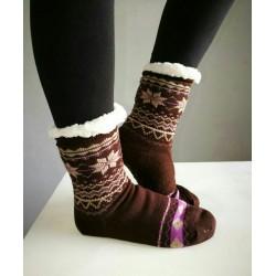 Fluffy Slipper Socks - Plain (Brown)