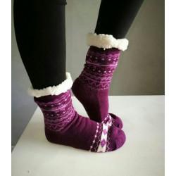 Fluffy Slipper Socks - Plain (Purple)