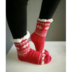 Fluffy Slipper Socks - Plain (Off Red)