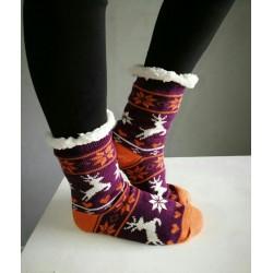 Fluffy Slipper Socks - Reindeer (Purple)