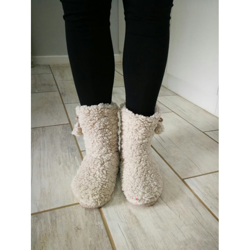 Soft Fleece Plush Slipper Boots - Beige