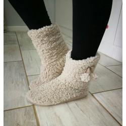 Soft Fleece Plush Slipper Boots - Beige