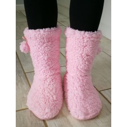 Soft Fleece Plush Slipper Boots - Pink