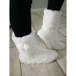 Soft Fleece Plush Slipper Boots - White