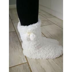 Soft Fleece Plush Slipper Boots - White