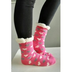 Fluffy Slipper Socks - Hearts (Pink)