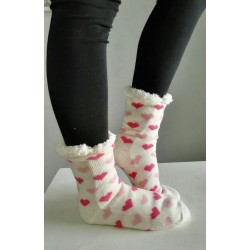 Fluffy Slipper Socks - Hearts (White)
