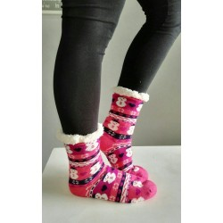 Fluffy Slipper Socks - Snowmen (Pink)