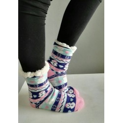 Fluffy Slipper Socks - Snowmen (Navy with white & soft pink)
