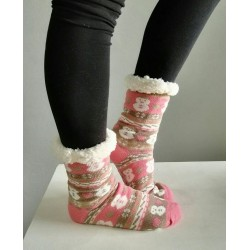 Fluffy Slipper Socks - Snowmen (Soft Pink with tan)