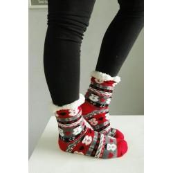 Fluffy Slipper Socks - Snowmen (Red)