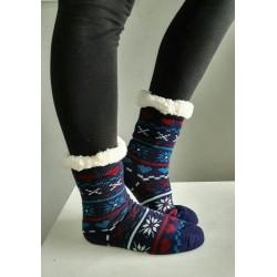 Fluffy Slipper Socks - Multi Design (Navy)