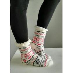 Fluffy Slipper Socks - Multi Design (White)