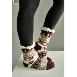 Fluffy Slipper Socks - Christmas (Brown)