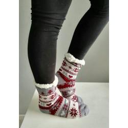 Fluffy Slipper Socks - Christmas (Grey with Maroon)