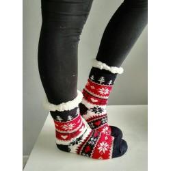 Fluffy Slipper Socks - Christmas (Black with Red)