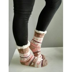 Fluffy Slipper Socks - Christmas (Beige with Soft Pink)