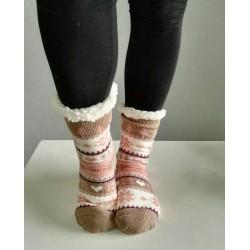 Fluffy Slipper Socks - Christmas (Beige with Soft Pink)