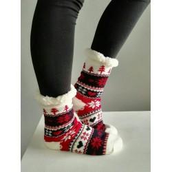 Fluffy Slipper Socks - Christmas (Red)