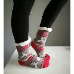 Fluffy Slipper Socks - Reindeer (Grey with Red)