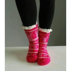 Fluffy Slipper Socks - Reindeer (Pink)
