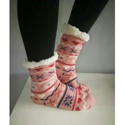 Fluffy Slipper Socks - Multi Design (Pink)