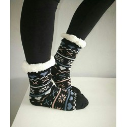 Fluffy Slipper Socks - Multi Design (Black)