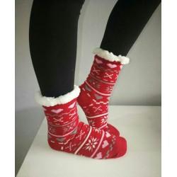 Fluffy Slipper Socks - Multi Design (Red)